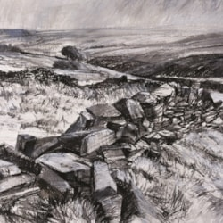 There is an earthy and raw beauty in these hills - what better way to express this with b/w mixed media