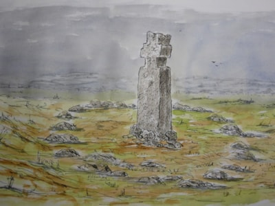 Lilla Howe Cross Fylingdales Moor. pen and wash sketch