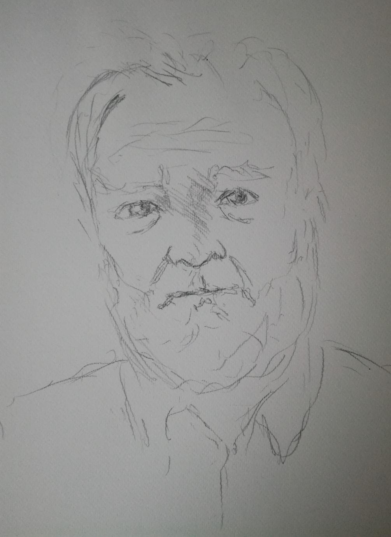 Sketch for self-portrait in watercolour