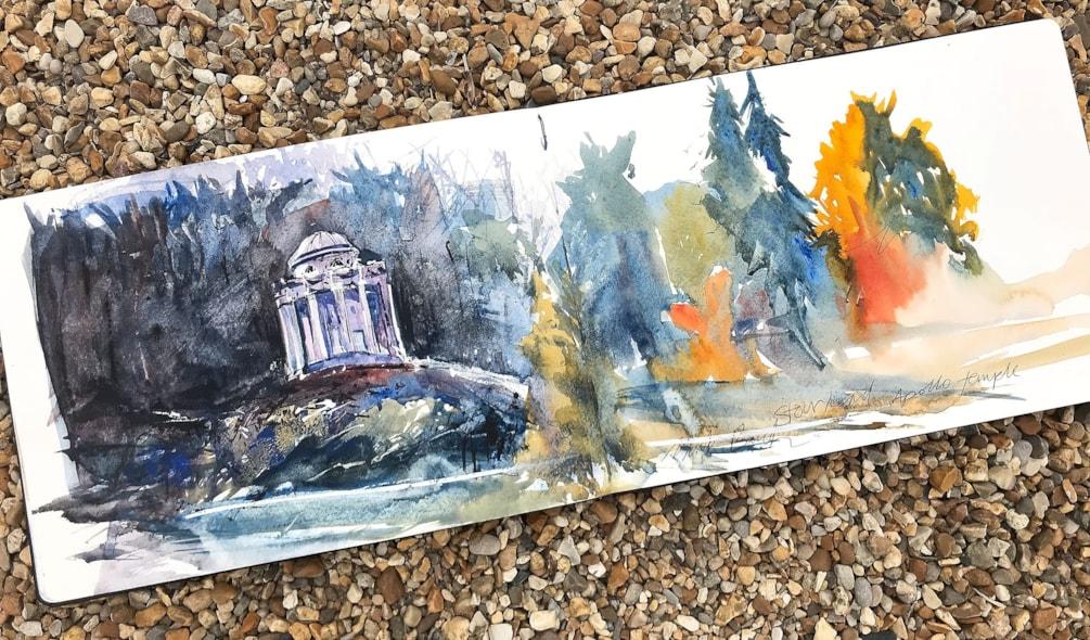 Stourhead Apollo temple Moleskine watercolour sketch