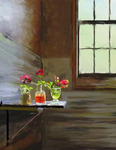 Bright Geraniums In a Drab Room