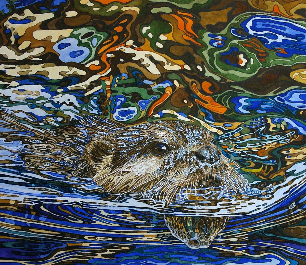 Otter in blue and orange reflection