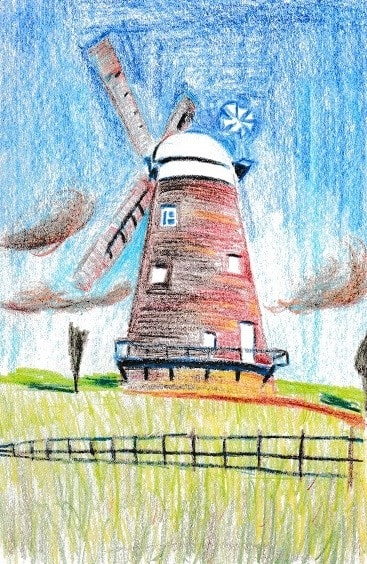 Windmill, Thaxted Essex - in colour