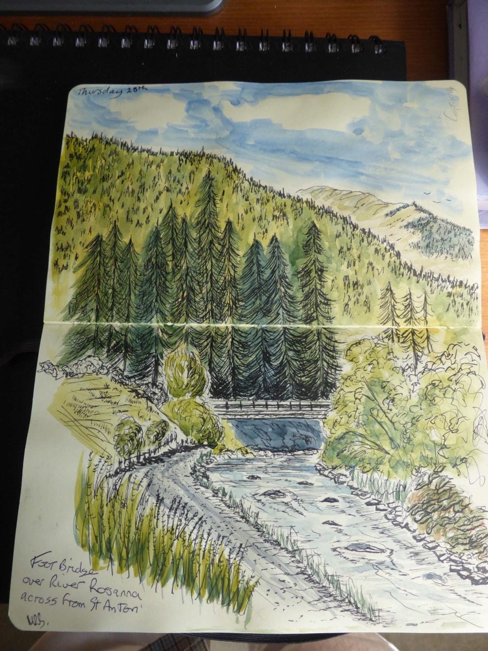 Sketch Footbridge on Rosanna River St Anton Austria