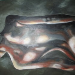 Nude, back view. Oil on canvas