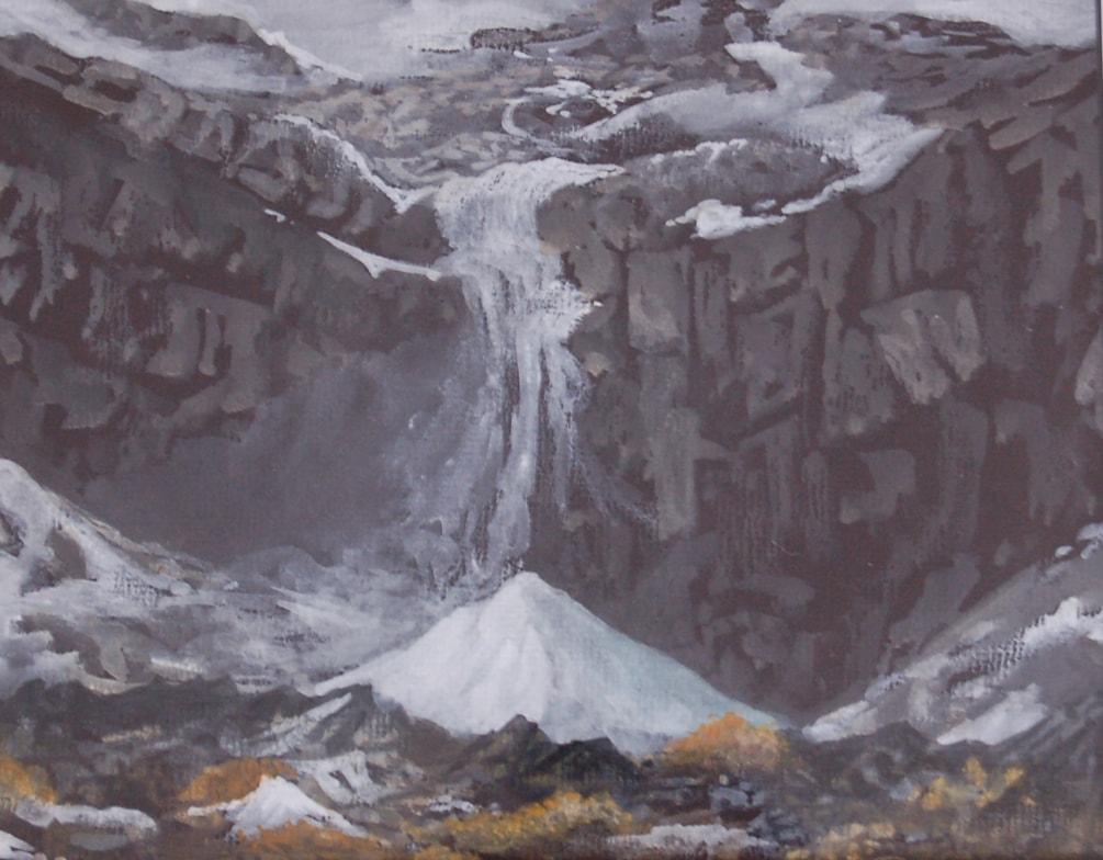 """""""Winter waterfall""""  in gouache"""