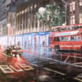 High Street Kensington by night, London