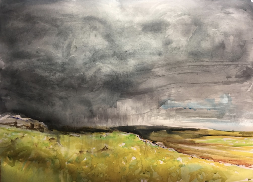 The Roaches looking towards Shuttlingsloe, ink and (Derwent) Artbar on A2 cartridge