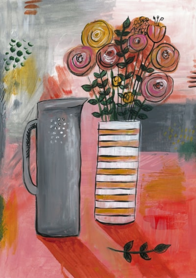 Floral swirls with grey vase