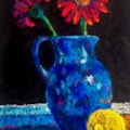 Blue Jug with Gerbera and a Lemon.