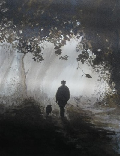 Walking the dog , pen,ink and wash