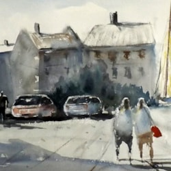 Buildings, Boats, Car Park, Figures, North Norfolk