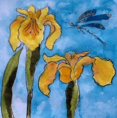 Irises and Dragonfly.