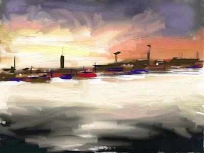 Docklands at night.