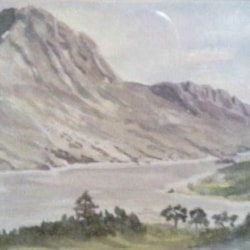 Ben Hope and Loch Hope,an early watercolour.