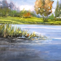 reed bed on the river (Canneto sul fiume) -Leonetta Rossi - painter