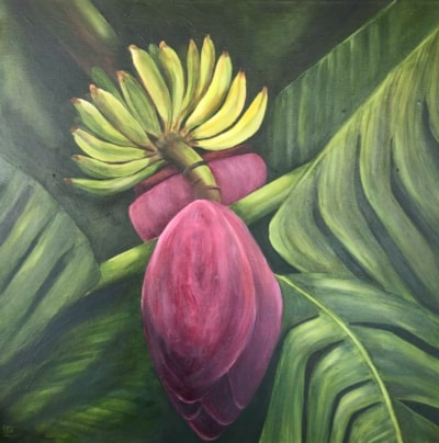 Bananas , leaves and flowers