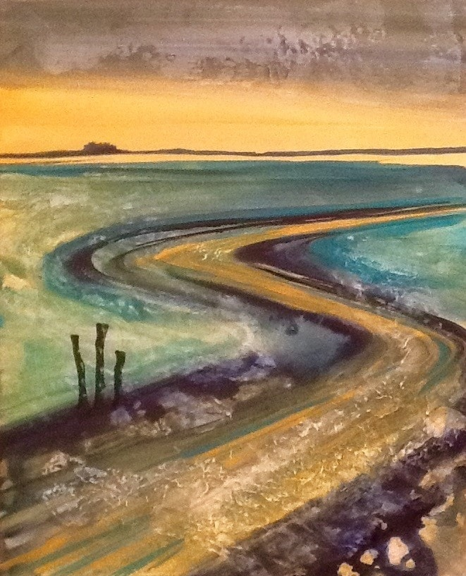 Across the mud flats of budle bay to lindisfarne