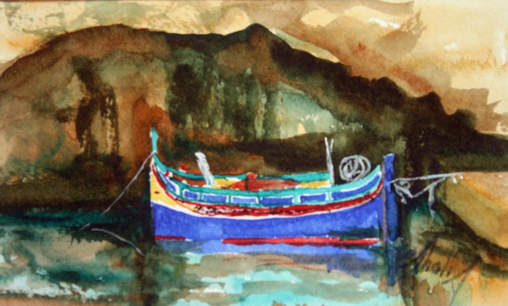 Luzzu in Xlendi Grotto