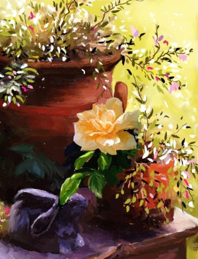 TerraCotta, Rose, & Concrete Rabbit