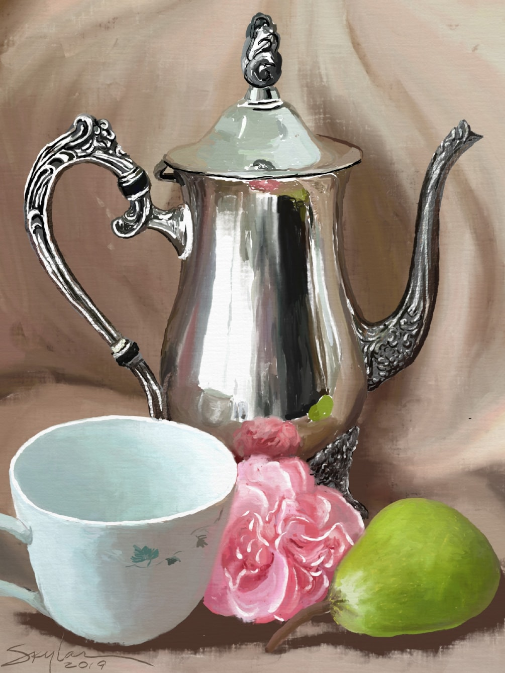 Pot & Cup with carnation and pear.