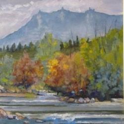 Republ.of San Marino Landscape from Marecchia river    oil