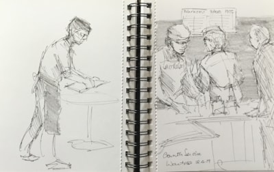 Sketching  in the cafe 2 pen and pencil.