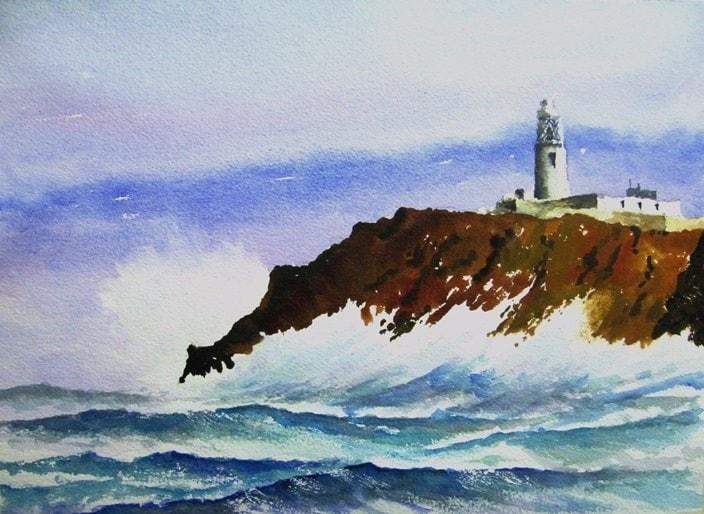 Rough seas off Round Island Lighthouse Scillies.