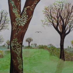 Flying by Spring Trees