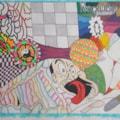 1993 old abstract mixed media