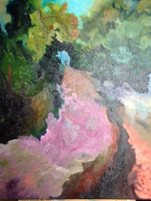 footpath at Quelm park : Oil 40x50cm canvas