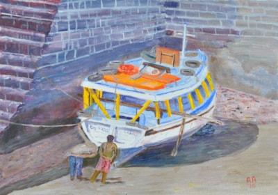 Inspecting the Boat, Mumbai