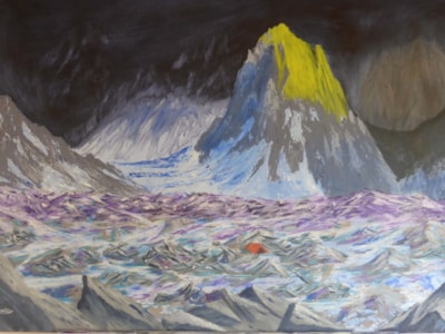 Glacier sunrise (between a rock and a hard place). 35.5x23.5inches