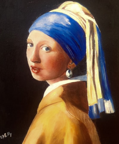 Reproduction of Girl with a pearl earring by Johannesburg Vermeer 1665