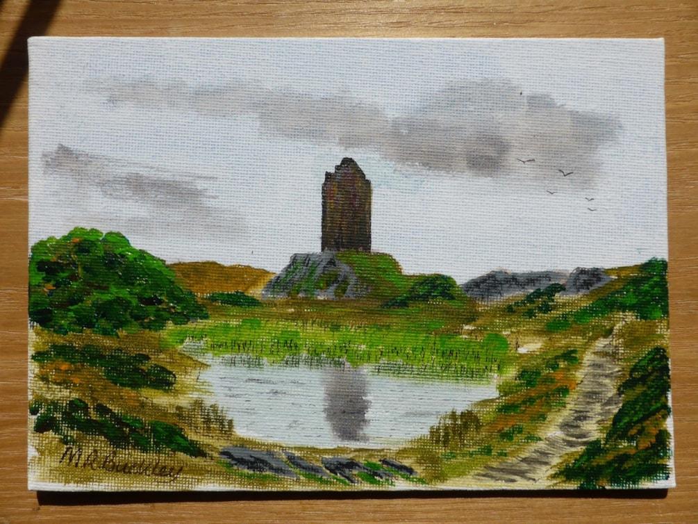 "Smailholme Tower. acrylic 7x4.5"" canvas board"