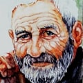 Old man - after Gianni Strino - watercolour 6 x 4 inches