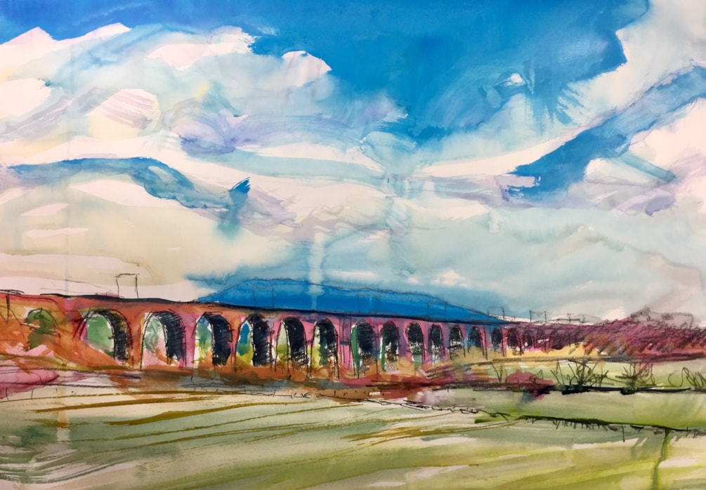 Viaduct and the Cloud, near Congleton, Conte Pierre Noire and ink on A2