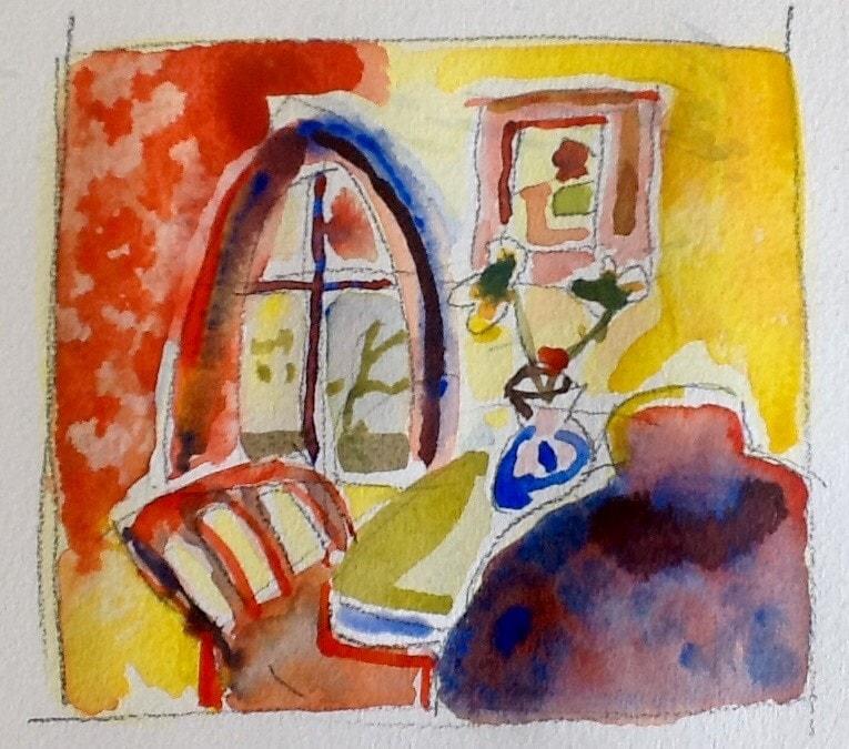 Imaginary room and figure