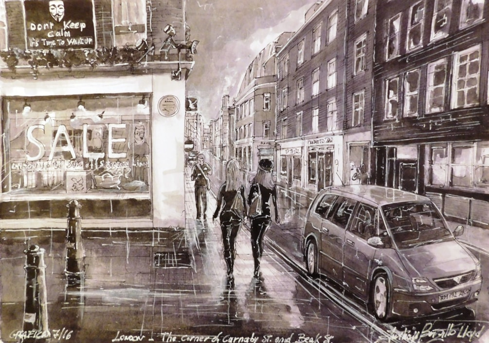 The corner of Carnaby St & Book St., London