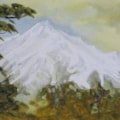 "Winter snow , Mount Taranaki"" mixed media"