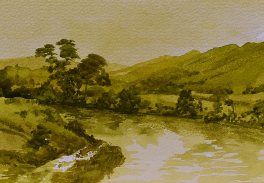 River Whangaehu from State highway just prior to entering Wanganui.  watercolour.
