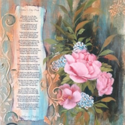Mothers Day Roses - Acrylic, collage & poem
