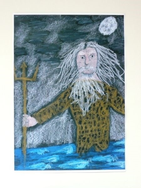 Poseidon Rising From the Sea - by Hector aged 11