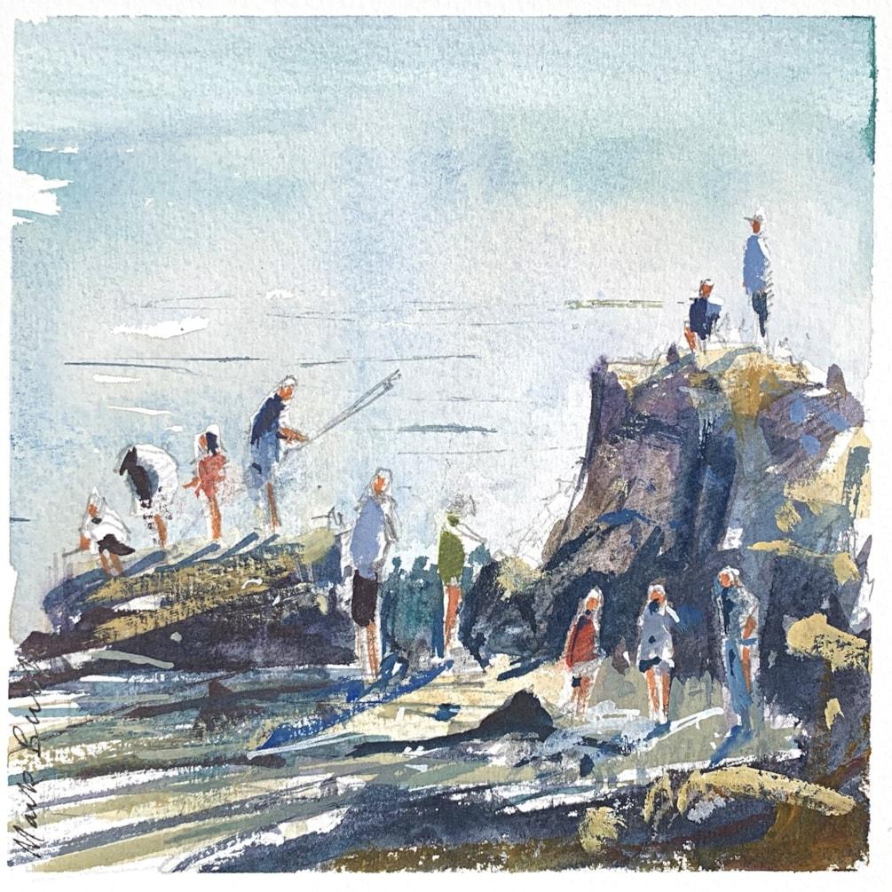 Crabbing at Seaview plein air