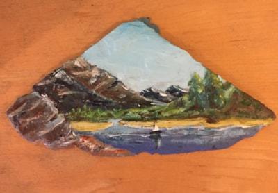 Generic landscape. Acrylic on natural Cornish slate