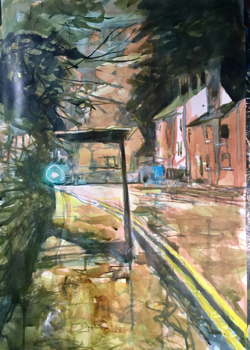 Sneyd St bus stop #5, ink on A2