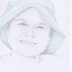 girl in the floppy blue hat