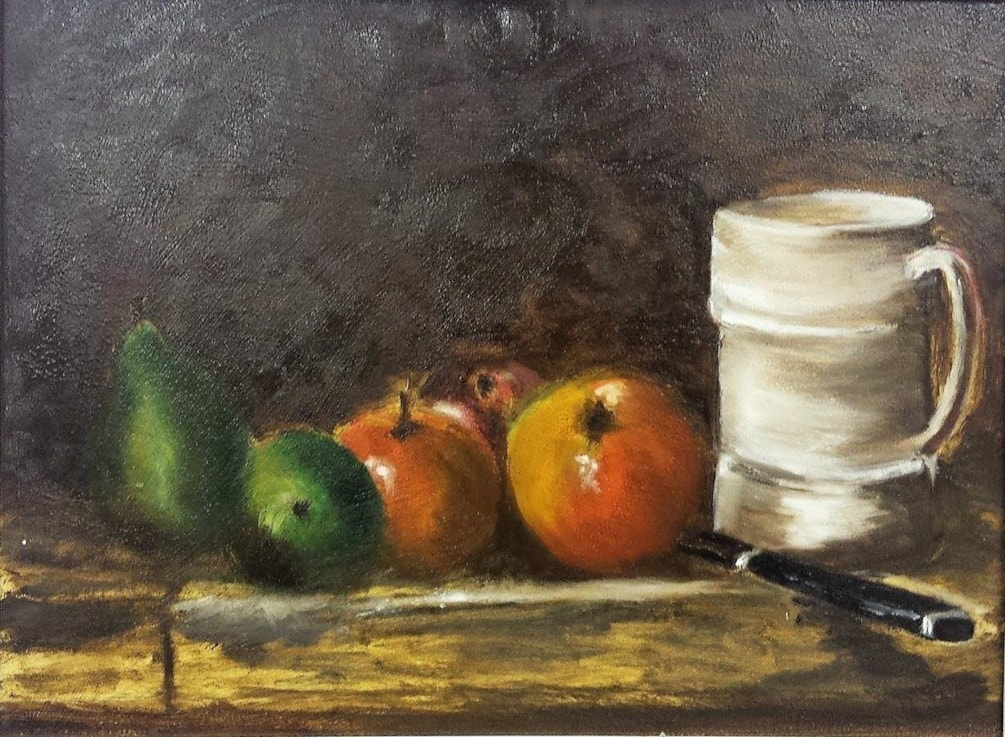 Pears, Apples and Tankard (after Chardin)