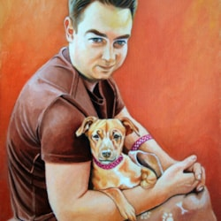 Christopher with Stella, a Jack Russell