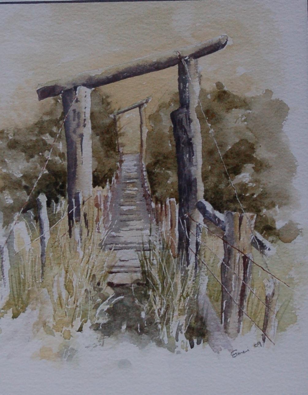 """just a farm bridge""  in watercolour"